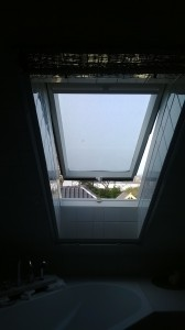 geöffnetes Katzennetz Rollo für Dachfenster.